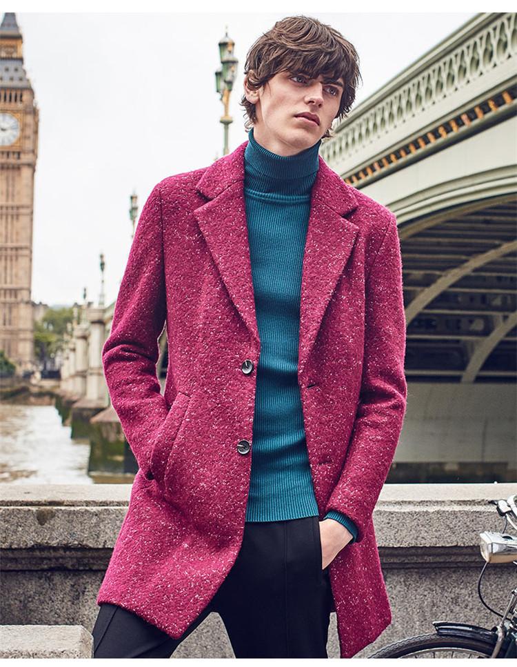男士酒红呢子大衣搭配