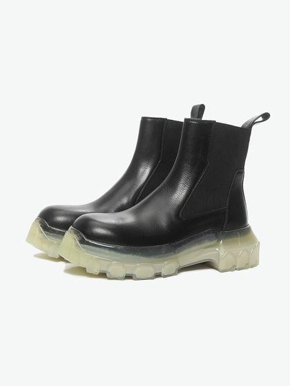 RlCK OWENS|RICK OWENS|男款|靴子|RICK OWENS  黑色拼接底短靴