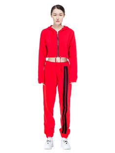 DANIELLE GUIZIO|女|DANIELLE GUIZIO  RED COTTON CROPPED TRACKSUIT